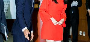 允兒-宋承憲擔任國稅廳宣傳大使 允兒紅色連衣裙驚艷全場(圖)