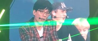 [HD視頻]劉在石與EXO在演唱會中表演Dancing King