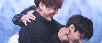 6張相片展示了Jungkook和Yugyeom的友誼