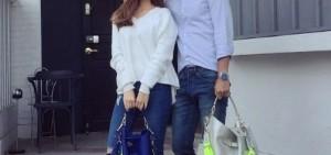 潔西卡支持猛男設計師 情侶穿搭曬螢光手提包