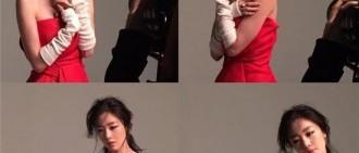 Secret韓善花一襲紅色抹胸裙 枯瘦身材一展女演員范兒